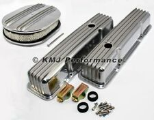 SBC Chevy 305 350 Finned Short Polished Aluminum Valve Covers & Air Cleaner