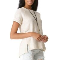 c54d987fe0 ANINE BING Women's Natural Knit Top Cap Sleeve Beige Size XS Cotton Blend