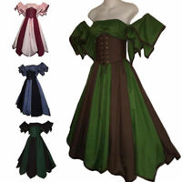 Ladies Medieval High Waist Gown Renaissance Princess Party Dress Cosplay Costume