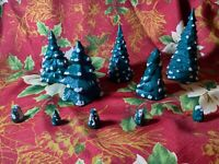 "10 Vintage ?Year? Byron Molds ""BH"" Winter Snowy Christmas Village Trees"