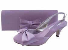 Señoras Boda Fiesta Noche Zapatos Tacón Bajo Zapatos Diamante Satén Lila Nuevo Reino Unido 2