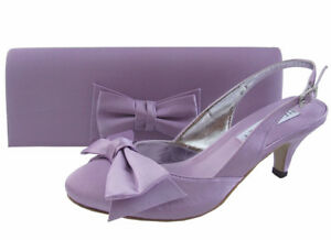 Ladies Wedding Party Low Heel Shoe Evening Shoes Diamante Lilac Satin NEW UK 2