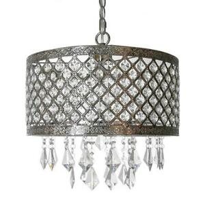 River of Goods 1-Light Silver and Crystal Chandelier with Lattice Shade