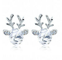 Xmas Fashion Christmas Crystal Deer Earrings Ear Stud Women Girls' Jewelry White