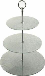 Cupcake Stand 3 Tier Silver Glitter Wedding Birthday Plate