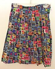 Skirt Ann Taylor Size 8 Pleated Silk,  Stamp Pattern