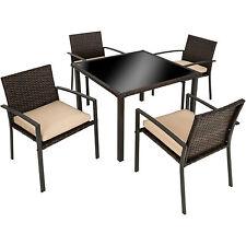 Conjunto muebles de jardín terraza ratán sintético exterior 4 sillas 1 mesa marr