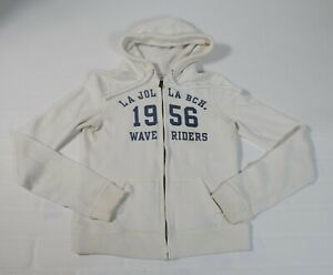 Hollister Women's White Zip Up Wave Riders Hoodie Sweatshirt Sz M