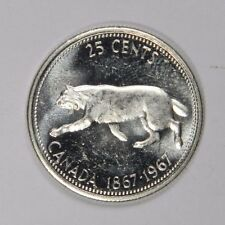 1967 CANADA 25 CENTS - FLASHY LUSTER! SILVER - CLASSIC! INV#412