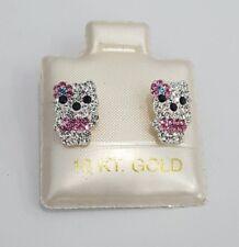 Child Baby Kids Hello Kitty CZ Stud Earrings 10k Yellow Gold Screwback