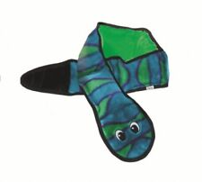 Outward Hound Invincibles Plush Low Stuffing Squeaker Dog Toy - Blue Green Snake