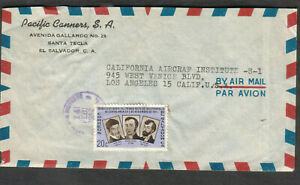 El Salvador 1962 cover Pacific Canners Santa to California Aircraft Institute