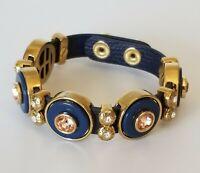 Henri Bendel Women/'s Leather Rivet /& Crystal Logo Snap Bracelet Jewelry Brown