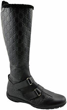 $1.100 GUCCI Black Leather Knee High GUCCISSIMA Biker Riding Boots Shoes 38 / 8