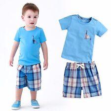 """Vaenait Baby Kids Girls Boys Clothes Short Outfit set """"Denver Blue"""" 12M-7T"""