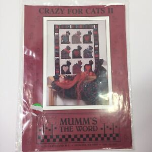 """Crazy for Cats 2 Quilt Pattern Mumm's the Word 32"""" x 41"""""""