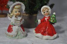 Vintage Lefton Christmas Angel Bell Spaghetti Trim & Poinsettia Girl with Tree