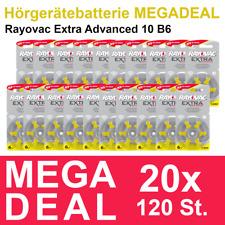 120x Hörgerätebatterie Typ 10 / Gelb Rayovac extra advanced - MHD_2024 #R10