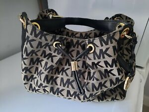 Michael Kors Signature Print Bucket Style Drawstring Bag Detachable Straps - GC