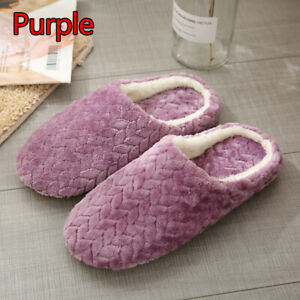Unisex Couples Slippers Plush Shoes Flat Cotton Solid Non-slip House Shoe CA
