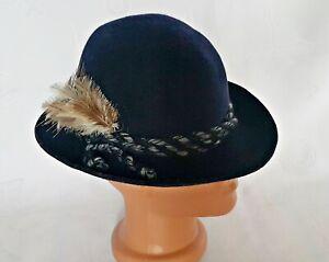 VINTAGE AUTHENTIC OKTOBERFEST DIRNDL TYROL BLUE WOMEN'S FEDORA HAT:US6 1/2;EU52
