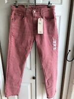 NWT Levi's 502 Taper Pink Denim Jeans Stretch Straight Leg RARE Size 30 x 32
