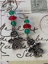Festive Christmas Gingerbread Boy Earrings. Red Crystals. Holiday. Ho Ho Ho. Joy