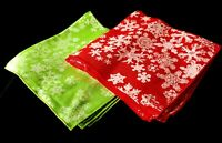 8 Green and Red CHRISTMAS SNOWFLAKE Napkins NEW 16 1/2""