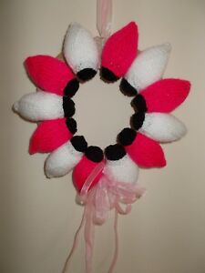 Handmade Knitted Pink & White Christmas or Party Fairy Lights Wreath