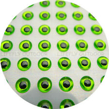 4mm Chartreuse /Wholesale 800 Soft Molded 3D Holographic Fish Eyes Fly Jig Lure