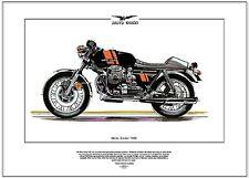 MOTO GUZZI 750S - Motor Cycle Fine Art Print - Italian made V-Twin OHV Superbike