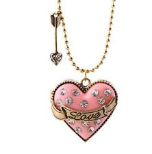 Enamel Pendant Betsey Johnson chain rhinestones Heart Jewelry Necklace Charm