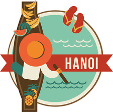 "Hanoi Vietnam World City Travel Label Badge Car Bumper Sticker Decal 5"" x 5"""