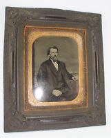 Antique Original Gutta Percha Wall Frame with 1/4 Plate Tintype of Wealthy Man