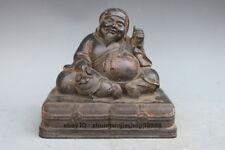 Tibet old purple Bronze  Mahakala Buddha Japan Mammon God of Wealt Statue