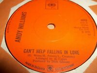 """ANDY WILLIAMS """" CAN'T HELP FALLING IN LOVE """" 7"""" SINGLE EXCELLENT 1970"""