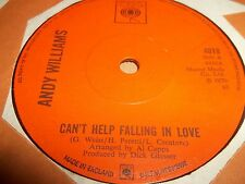 "ANDY WILLIAMS "" CAN'T HELP FALLING IN LOVE "" 7"" SINGLE EXCELLENT 1970"