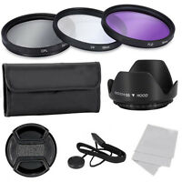 UV CPL FLD ND2 4 8 Filter Kit For Nikon Canon Fuji 58mm Lens Hood Keeper Camera