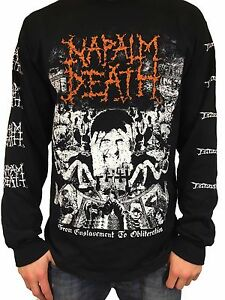 """Napalm Death """"From Enslavement To Obliteration"""" Long Sleeve T shirt - NEW"""