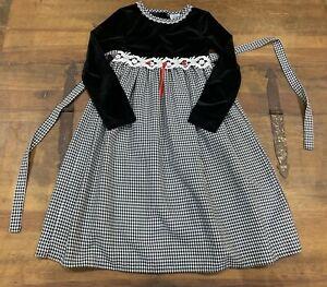 Thomas Girl's Velvet Bodice Sash Tie Dress Black & White Size 6X Christmas EUC