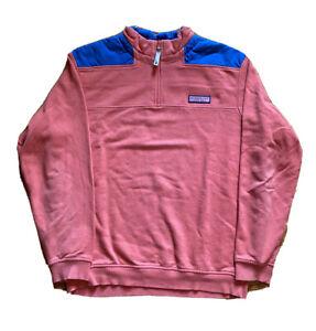 Vineyard Vines 1/4 Zip 100% Cotton Pink Pull Over Track Jacket Men's Size Medium