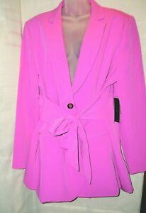 Worthington Women's Blazer Plus Size 2XL Suit Jacket Purple Belted NWT $90