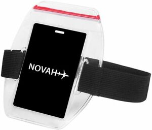 Water Resistant Armband ID Badge Holder with Resealable Red Zip & Rugged