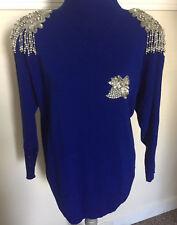 EUC Vintage Women's Rhinstones Blue Sweater Rhinestone Eqaulets Holiday Small