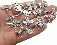 9 Bee Charms Butterfly Pendants Antiqued Silver Assorted Set Insect Wasp