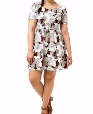 New Dorothy Perkins Wine  Floral Textured Skater Dress Size 10 UK