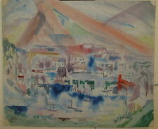 Vintage LEIGHTON CRAM 'Cubist Dissection Abstract' CITYSCAPE Painting -SUN RAYS