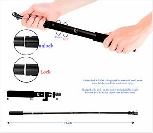 Waterproof Extension Pole Selfie Stick Monopod For Go Pro GoPro HERO 6 5 4 3 3+