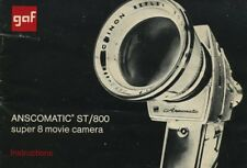GAF Anscomatic ST/800 super 8 movie camera instruction manual 1970's