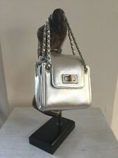 CHANEL Mini Accordion Flap Bag Metallic Silver